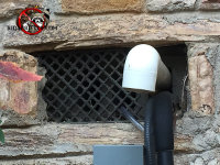 There is a screened opening in the stone foundation for pipes to pass through, but there are enough gaps in the screen for mice to pass through as well