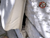 Gap between a dryer vent flange and the brick exterior of a house in Atlanta allowed mice to get into the house