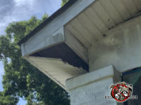 Raccoons walking on top of a soffit panel in a house in Ellenwood Georgia caused the soffit panel to collapse and hang precariously from the soffit