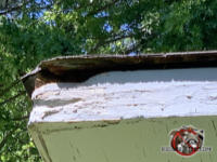 Rat hole chewed through the top of the wooden roof fascia on a flat roof of a house in Atlanta