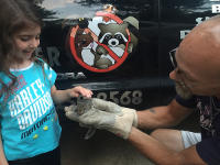 Little girl named Faith petting a young squirrel held by an animal control tech named Tim